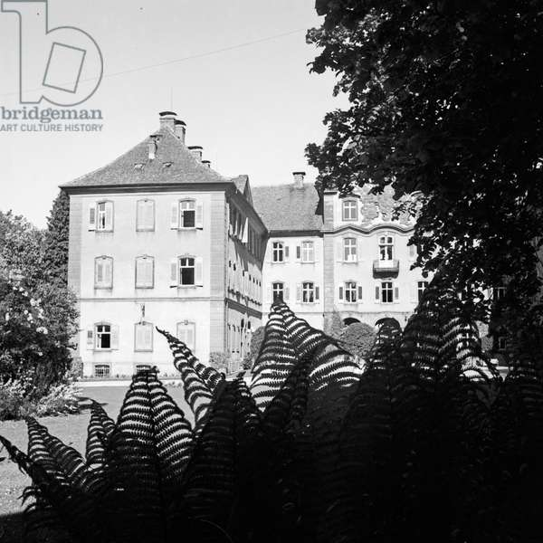 Teutonic Knight castle at Mainau island, Germany 1930s (b/w photo)