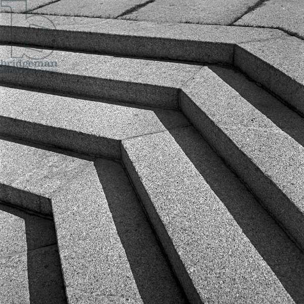 Stairs in the sunshine at the inner courtyard at the Tannenberg monument near Hohenstein in East Prussia, Germany 1930s (b/w photo)