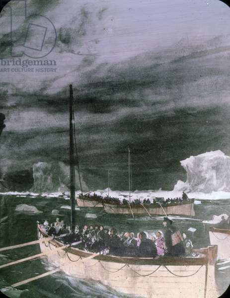 The maiden voyage of the Titanic 1912, Titanic disaster - The sinking of the Titanic - lifeboats with shipwrecked people, illustration - Carl Simon, hand coloured glass slide