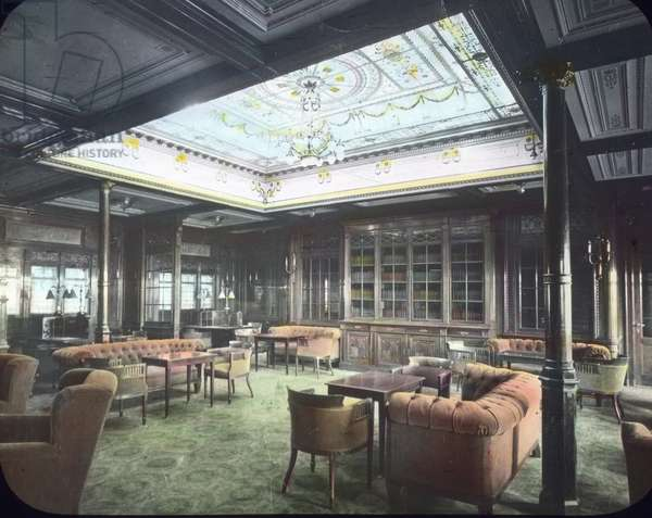 The maiden voyage of the Titanic - Luxury lounge on board of the Titanic liner. 10. April 1912. Carl Simon Archive