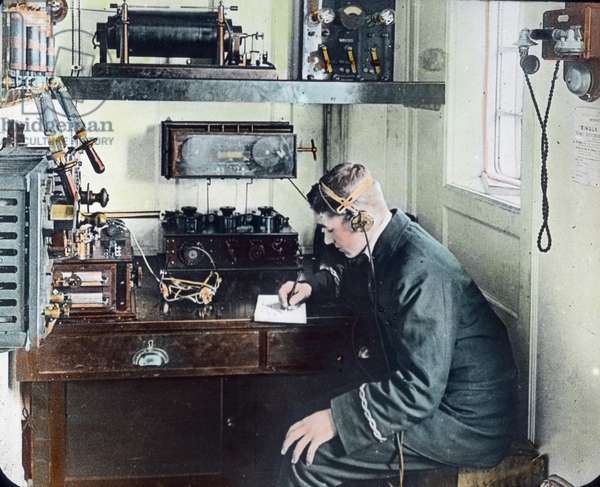 The maiden voyage of the Titanic 1912, Titanic disaster - wireless operator on board of the Titanic - Carl Simon, hand coloured glass slide
