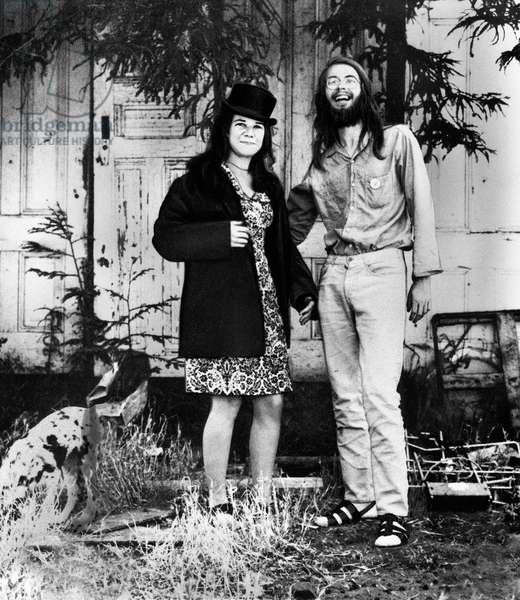 American singer Janis Joplin with drummer Chet Helms at San Francisco, USA 1967
