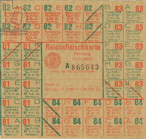 Germany , the time of the Weimarer Republic , Hamburg , food ration card for meat , valid 27. 09. to 24. 10. 1920. Keywords : the German Reich , WW I , the First World War , food ration cards , rationing , providing , poverty , plight , misery , economy , in the twenties of the twentieth century