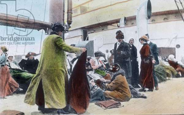 On board of the Carpathia Liner: Shipwrecked passengers of the Titanic - Carl Simon, hand coloured glass slide