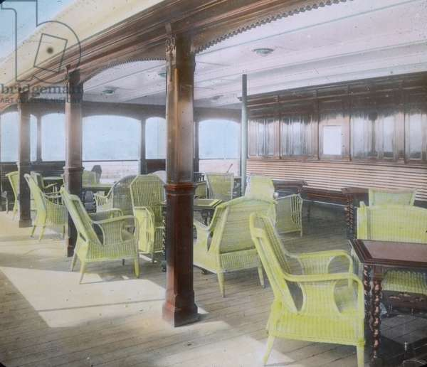 The maiden voyage of the Titanic 1912 - Titanic disaster - upper deck with loom chairs - history, historical, Carl Simon, hand coloured glass slide