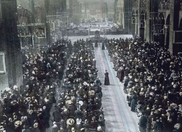 The maiden voyage of the Titanic 1912 - funeral service for victims of the Titanic disaster, history, historical, Carl Simon, hand coloured glass slide
