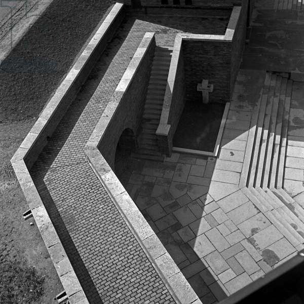 View from one of the towers o the inner courtyard at the Tannenberg monument near Hohenstein in East Prussia, Germany 1930s (b/w photo)