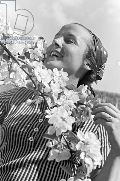 A young woman under a blooming cherry tree in the Black Forest, Germany 1930s (b/w photo)