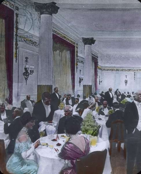 The maiden voyage of the Titanic 1912 - dining hall - hand coloured glass slide - illustration - history, historical, Carl Simon