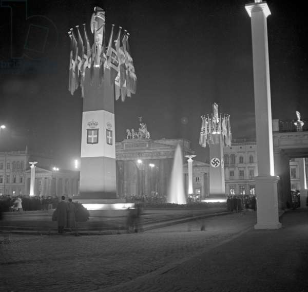 German capital Berlin is decorated for the visit of Italian duce Benito Mussolini in September 1937 (b/w photo)