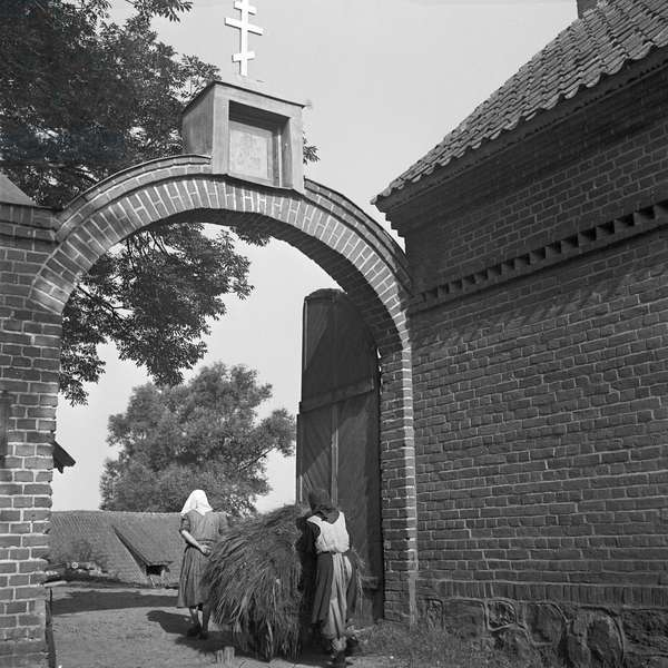 Entrance to Russian monastery Eckardsdorf in Masuria in East Prussia, Germany 1930s (b/w photo)