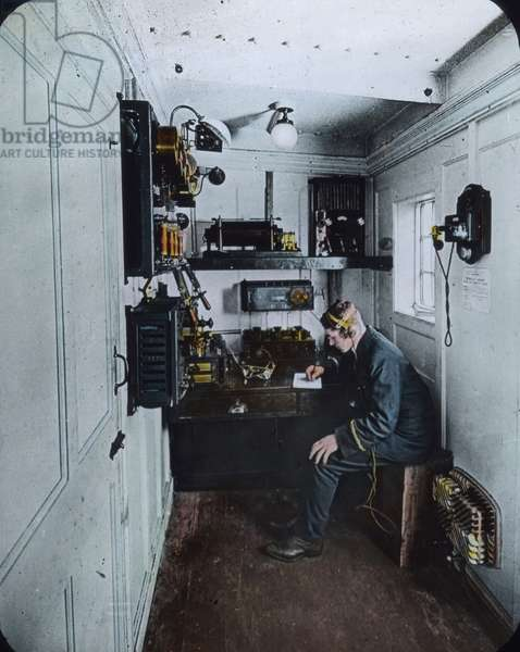 Wireless operator on board of the Titanic 1912 - hand coloured image