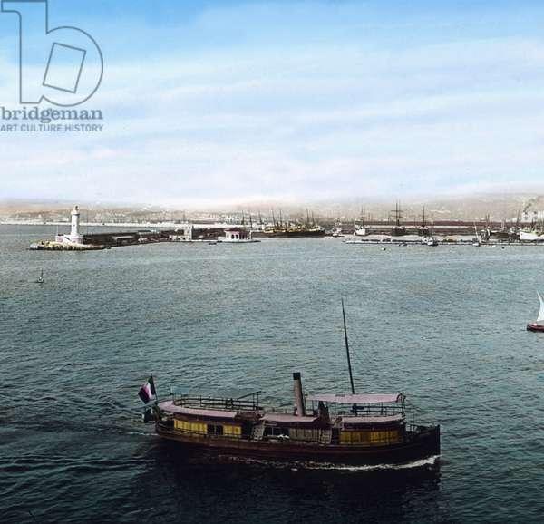 Barge at Marseille port, France 1910s.