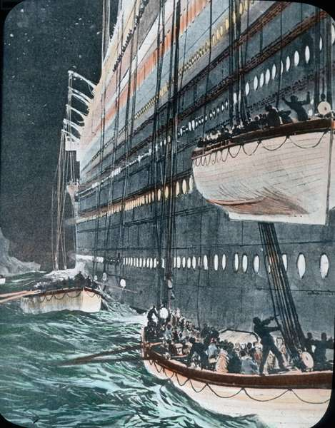 The maiden voyage of the Titanic 1912, Titanic disaster - The sinking of the Titanic - lifeboats - illustration - Carl Simon, hand coloured glass slide