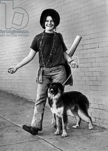 American singer Janis Joplin and her pet dog George, USA end 1960s