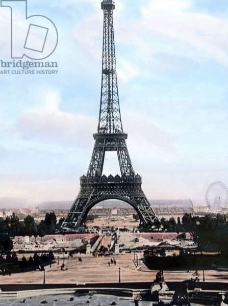 Europe, France, Paris, history, historical, 1910s, 1920s, 20th century, archive, Carl Simon, exquisit collection : landmark, steel, construction, tower, capital, French, Gustave, Eiffel, hand coloured glass slide