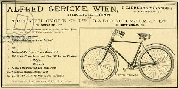 "Advertisement for bicycles of the company """" Alfred Gericke, Vienna, General-Depot for cycles of the companies Triumph and Raleigh. Advertisement from the newspaper """" Allgemeine Sport Zeitung """", 1. 1. 1893"