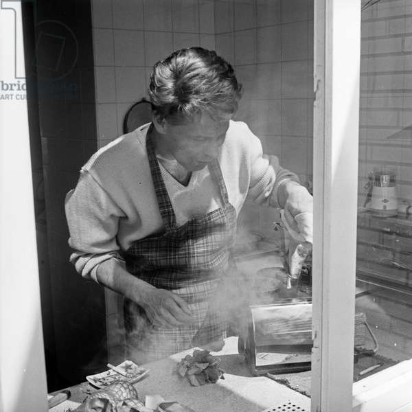 German dancer and choreographer Herbert F Schubert with burnt toast, Germany 1960s