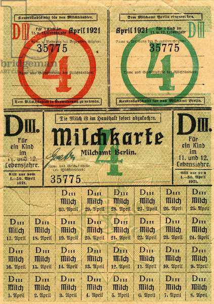 Germany , Weimarer Republic , Berlin , food ration card for milk for children in the age of 11 or 12 years , April 1921. Keywords : the German Reich , the First World War , rationing , providing , misery , poverty , plight , household , housekeeping , economy