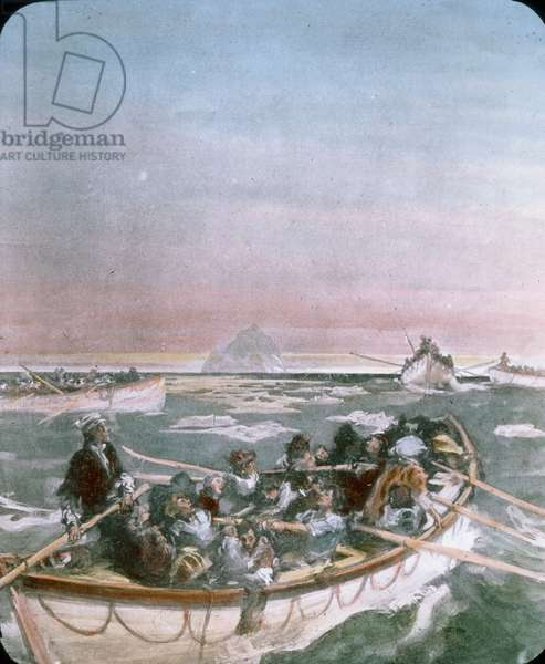 The maiden voyage of the Titanic 1912, Titanic disaster - lifeboat with shipwrecked people - illustration, Carl Simon, hand coloured glass slide