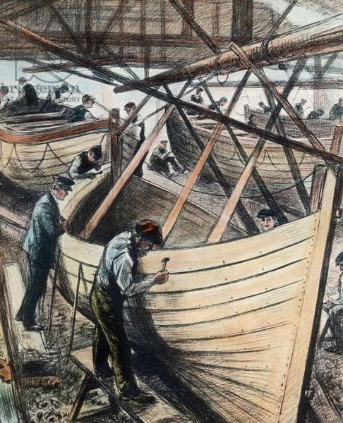 The maiden voyage of the Titanic 1912 - construction of Titanic life boats at Harland & Wolff shipyard in Belfast, illustration, history, historical, Carl Simon, hand coloured glass slide