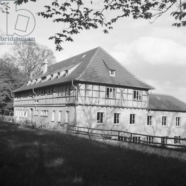 Timbered house near a forest, Germany 1930s (b/w photo)