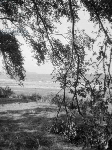 Baltic resort Zoppot, view to the beach, 1930s (b/w photo)