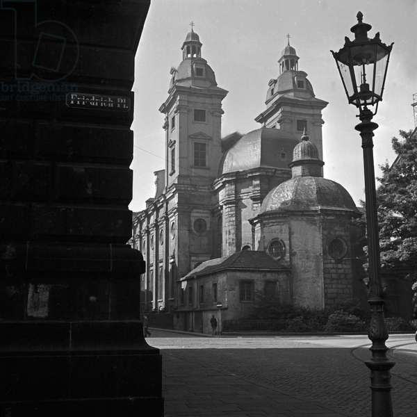 Roman Catholic St Andrew's church at Duesseldorf, Germany 1930s (b/w photo)