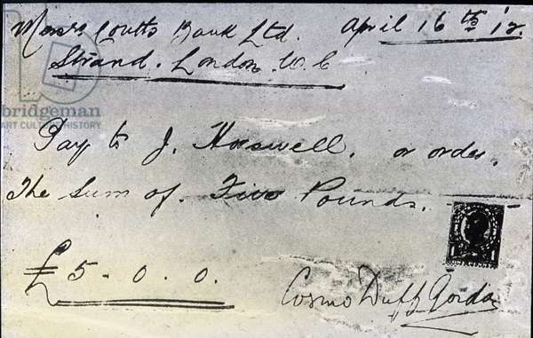 The maiden voyage of the Titanic 1912, Titanic disaster, 5 pound cheque from tennis player and survivor Sir Cosmo Duff Gordon for Titanic crew members, his saviour, history, historical, Carl Simon, glass slide