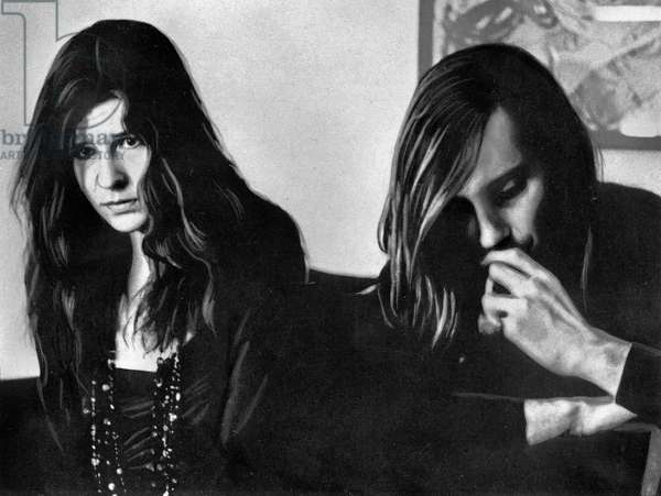 American singer Janis Joplin with Sam Andrew after her New York concert, USA 1968