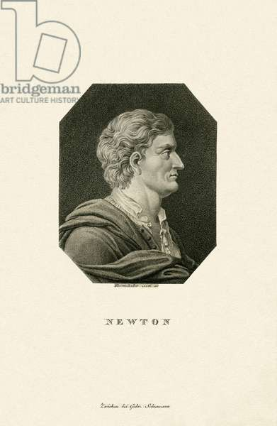Isaac Newton, English natural philosopher and scientists, copperplate engraving by Rosmaesler, published by Schumann, Zwickau, 19th century