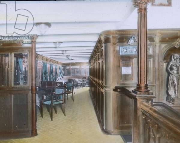 The maiden voyage of the Titanic 1912 - on board - Deck A interior - Carl Simon, hand coloured glass slide
