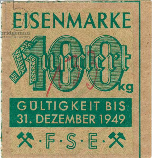 Germany , postwar era , the Second World War , time of the occupation regime , ration card for iron for 100 kilogramme , valid to 31. December 1949. Keywords : WW II , ration cards , rationing , industry , production , history , in the forties of the twentieth century