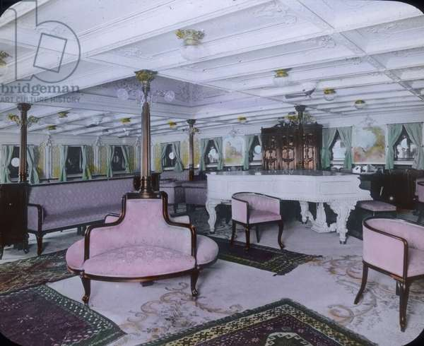 The maiden voyage of the Titanic 1912 - Luxury lounge on board of the Titanic - Carl Simon, hand coloured glass slide