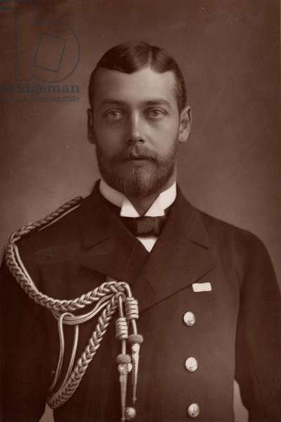 """""""""""George V (1865-1935) King of Great Britain and Ireland from 1910. Here before the death of his grandmother Queen Victoria, when he was known as Prince George of Wales (woodburytype)"""