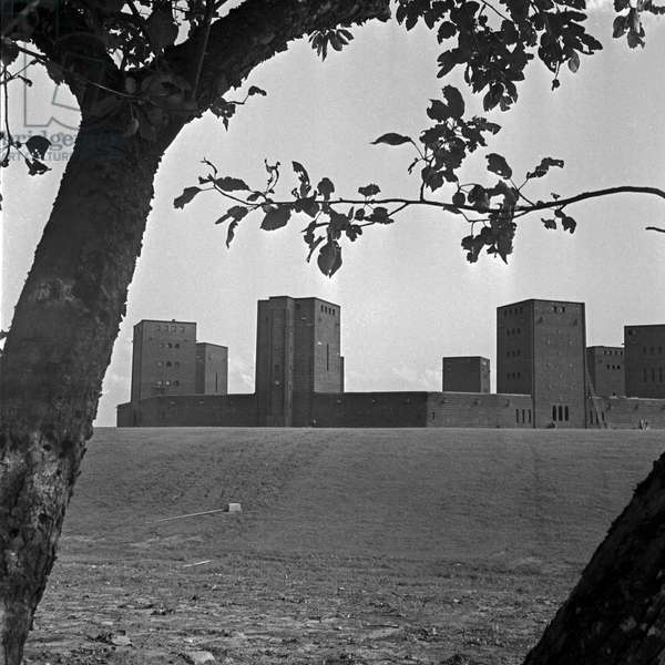 View to the Tannenberg monument near Hohenstein in East Prussia, Germany 1930s (b/w photo)