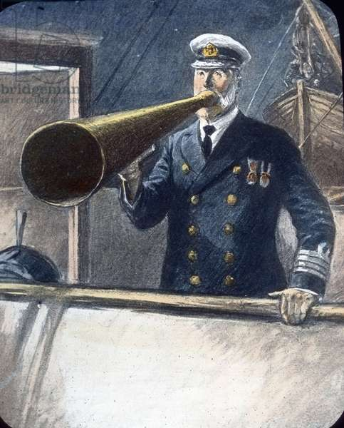 The maiden voyage of the Titanic - Titanic disaster - The sinking of the Titanic - Captain Edward John Smith with speaking tube, illustration of his last instructions. 15. April 1912. Carl Simon Archive