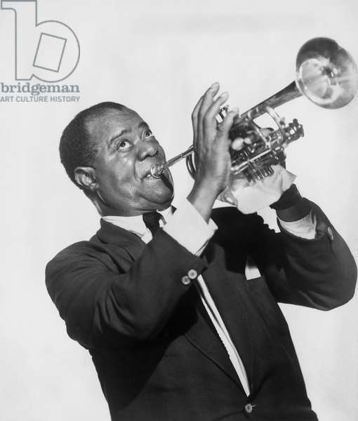 "Louis Armstrong (1901-1971) was the most famous jazz trumpeter of the 20th century. Louis Amstrong dans le film ""The Five Pennies (Millionnaire de cinq sous)"", 1959."