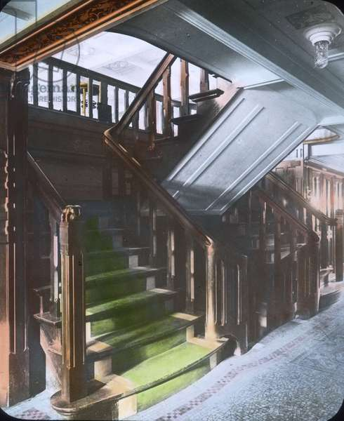The maiden voyage of the Titanic 1912 - stairways between decks - Carl Simon, hand coloured glass slide