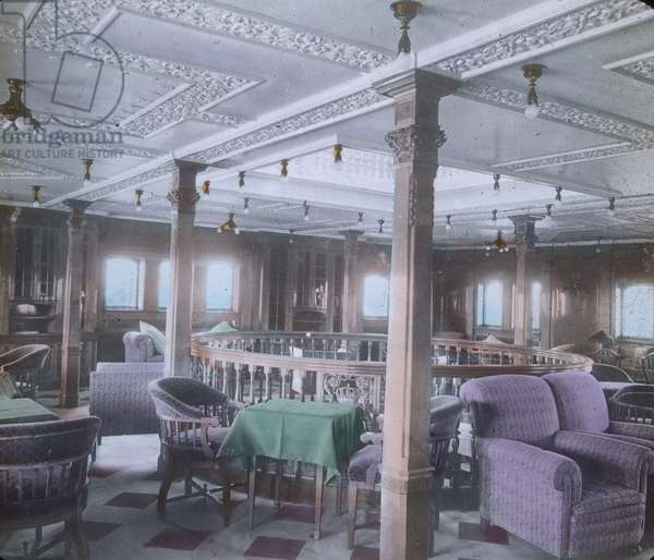 The maiden voyage of the Titanic, Titanic interior - luxury lounge - 1912 - Carl Simon, hand coloured glass slide