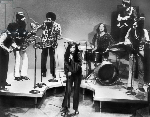 American singer Janis Joplin performing at Dick Cavett's TV show with the Kozmic Blues Band, USA end 1960s