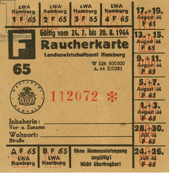 Germany , Hamburg , time of the Second World War and the Third Reich , ration card for tobacco , valid from 24. 07. to 20. 08. 1944.