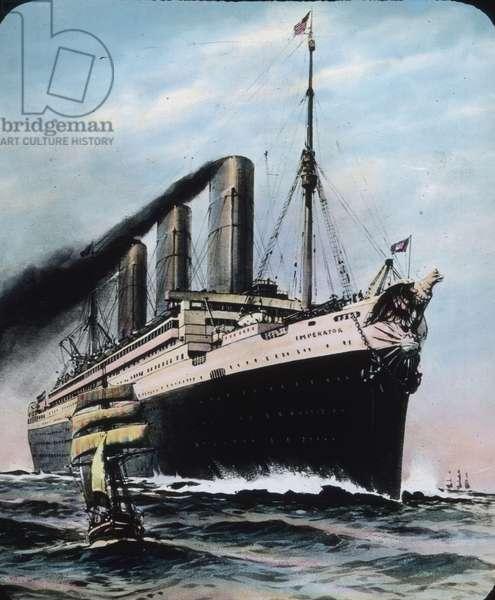 The maiden voyage of the Titanic 1912 - Imperator, German Ocean liner, similar to Titanic, history, historical, illustration, Carl Simon, hand coloured glass slide