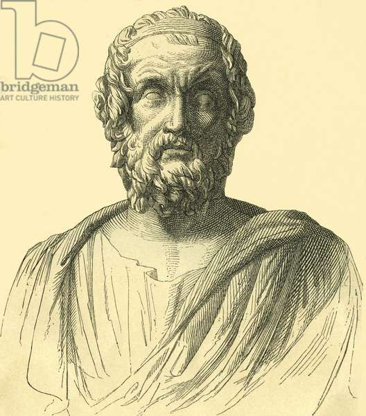 Homer, greek poet, about 800 B. C. , wood engraving from : General history of the world for all people from the earliest times to 1870 , by Dr. Karl von Rotteck, 8. edition looked through by Dr. Wilhelm Zimmermann , publishing house Rieger, Stuttgart, 1869