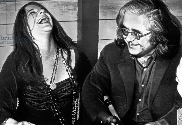 American singer Janis Joplin with Albert Grossman at New York City, USA end 1960s