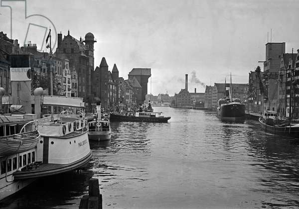 Ships at Danzig harbor, Germany 1930s (b/w photo)