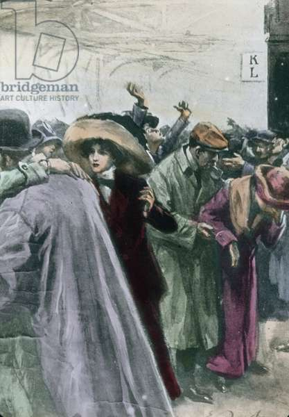 The maiden voyage of the Titanic 1912 - Titanic disaster - arrival of survivors in in New York, illustration, history, historical, Carl Simon, hand coloured glass slide