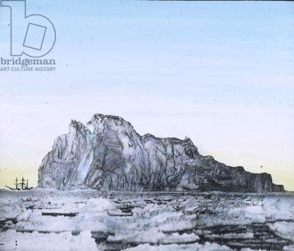 The maiden voyage of the Titanic 1912 - Titanic disaster - Iceberg - illustration - Carl Simon, hand coloured glass slide