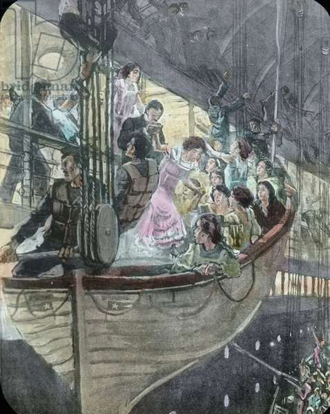 The maiden voyage of the Titanic 1912 - Titanic disaster, The sinking of the Titanic - panic on board - Carl Simon, hand coloured glass slide - illustration