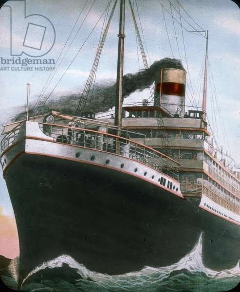 The maiden voyage of the Titanic 1912 - Titanic disaster - The Carpathia liner was near to the sinking Titanic. 15. April 1912. Carl Simon Archive